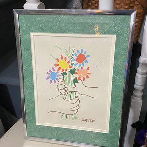 Picasso Hands with Flowers Vintage Litho Print